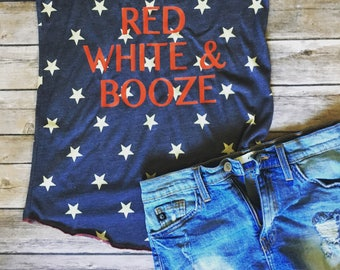4th of July Tank Top - Red White and Booze - 4th of July Shirt Women - Merica Tank Top - 4th of July Shirt - Merica Shirt