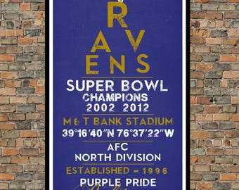 Baltimore Ravens - Eye Chart chalkboard print - sports, football, gift for fathers day, subway sign - Eyechart wall art