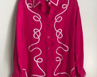 Vintage Diane Von Furstenberg Hot Pink Button Down Blouse Rope Design Size Medium 100% Silk