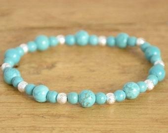 Turquoise Bracelet - Blue Green Gemstone Bracelet - Stretch Stack Bracelet - Boho Bead Bracelet - Everyday Jewellery - December Birthstone