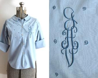 50s Blouse / 1950s Blue Monogrammed Blouse