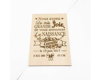 Carte gravée en bois Personnalisable : Naissance