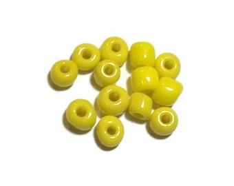 Glass Seed Beads, Opaque Yellow Seed Beads, Jewelry Making Beads, 8/0 Seed Beads, 50 Grams
