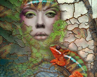 Chameleon, Beautiful Woman,  Archival Print, Decor, Digital Montage, Brightly Colored, Lizzard