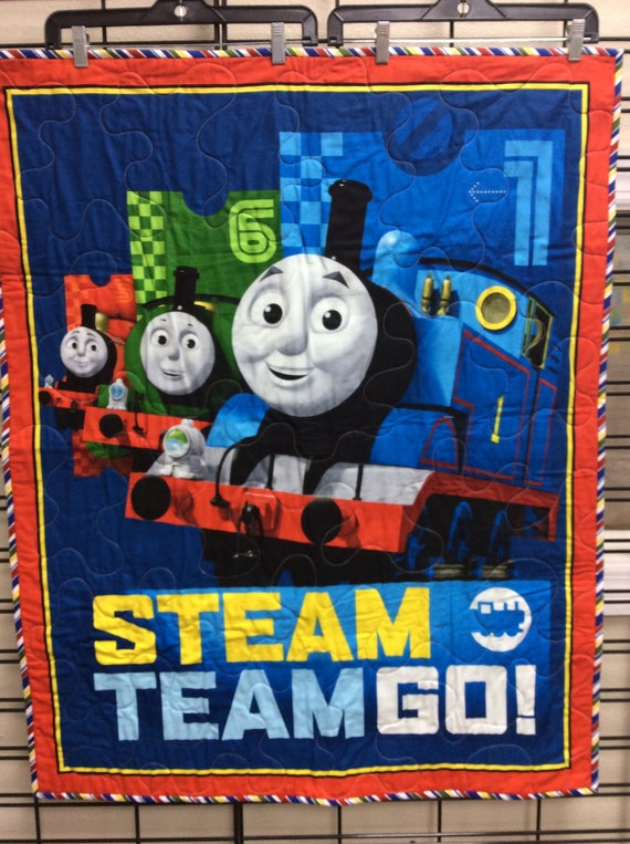 Thomas the Train Quilt Full Steam Ahead Size 34x40 Blue Red