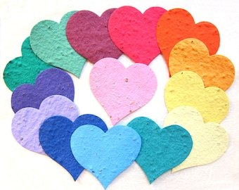 20+ Flower Seed Paper Hearts Unique Wedding Favors - Plantable Memorial Seed Paper Cards - DIY Place Cards Royal Purple Hearts Pink Paper