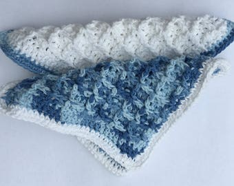 Crochet Handmade Washcloth Dishcloth Faded Denim Blue White Kitchen Bath Gift for Her Bridal Shower, Housewarming Gift, Free Shipping