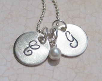 The Twins, Initial Necklace for mothers or grandmothers
