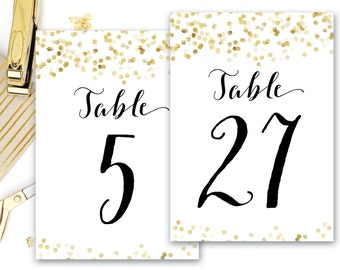 Table Numbers Gold and Black, Gold Confetti Wedding Table Numbers, 5x7 4x6 pdfs, Digital File, The Giselle