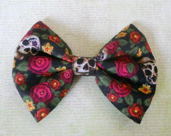 skulls with flowers hair bow