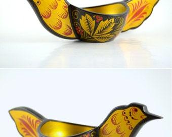 Russian Lacquer Art Bird Bowl, Khokhloma Russian Folk Art Paper Mache Bowl, Handpainted Bowl Lacquerware, Small Bird Bowl, Flower Painting