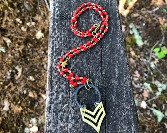 Chevron Necklace with Red Bead Chain and Brass Star Charm colorful handmade jewelry gift from practicallyfrivolous on etsy