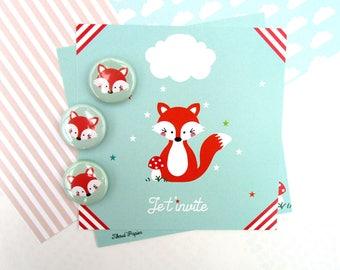 Fox birthday invitation + envelope and matching badge