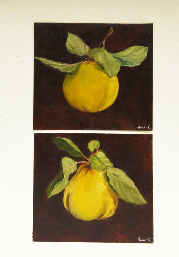 Apple quince Original still life painting Set of 2 Diptych art