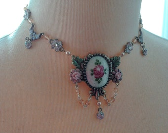 Vintage Porcelain Guilloche Rose Necklace