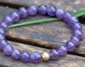 Amethyst Bracelet - 9ct Gold Bracelet - Beaded Bracelet - Stretch Bracelet - Beaded Amethyst Bracelet - Gemstone Bracelet - Purple Bracelet