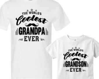 Matching Shirt Set The World's Coolest Grandpa Ever and The World's Coolest Grandson Ever
