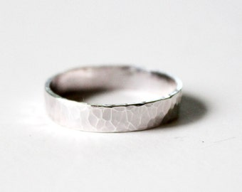 Ring - Thick Sterling Silver Ring Band - Hammered or Smooth Finish - Unisex Wedding Band - Letter Stamped - Promise Ring -Men's Wedding Ring