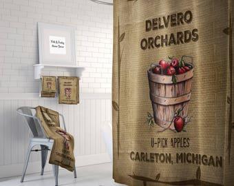Apple Orchard Farmhouse Shower Curtain , Custom Personalized  Bath Mat, Bath Towels