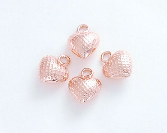 4 of 925 Sterling Silver Rose Gold  Vermeil Style Heart Charms 7mm. :pg0067