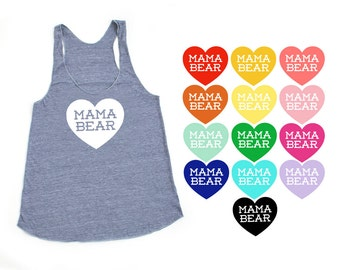 Mama Bear with Heart TriBlend Heather Grey Racerback Tank Top - Family Photos, Baby Shower, Expecting, Announcement, Gift for Mom