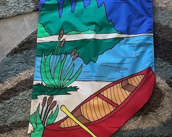 Canoe and Lake / Lake House Welcome Large Decorative Flag
