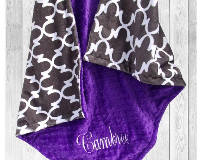 Gray Quatrefoil and Purple Minky Dot Baby Blanket, Purple and Gray Minky Baby Blanket - available in three sizes,