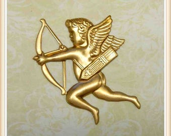 4 pc brass, raw brass, angel, cupid, valentine, vintage #2482