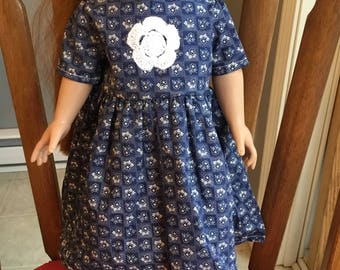 "Dress with crochet medallion fits 18"" dolls such as American girl"