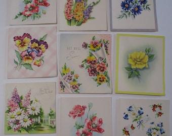 Vintage Greeting Card Lot-Ephemera-Mixed Media-Paper-Crafts-Scrap Booking-Floral-Set of 9-1940's-UNUSED