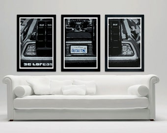 """Delorean Back to the Future inspired minimalistic poster set, Delorean poster set, Back to the Future poster, BTTF 12""""x18"""""""
