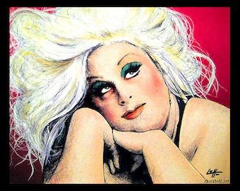 "Print 11x14"" - Divine - John Waters Pink Flamingos Hairspray Drag Queen Pop Art Pink Mondo Trasho Cult Sex Vintage 60s 70s 80s Baltimore"