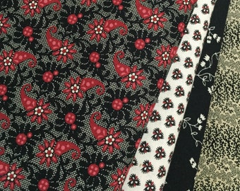 4 ~ Red & Black Paisley Civil War Reproduction Quilt Fabric Fat Quarters ~ Marcus Brothers