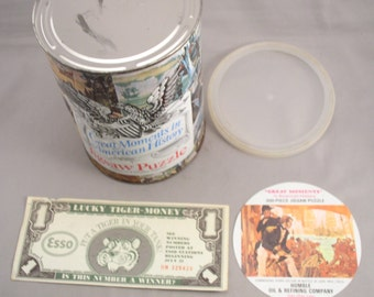 Vintage HUMBLE Oil Unopened Oil Can Jigsaw Puzzle ( Admiral Perry) & ESSO Lucky Tiger Money