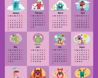 "18x24"" Wall Calendar 2016, 2016 large calendar, Nursery wall calendar, Monsters calendar, Wall art, Nursery decor"