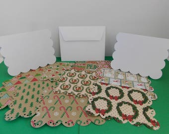 DIY Paper Die Cut Greeting Card Kits Set of 10 Christmas designs base cards 10 asst festive scallop Papers  Create your own Greeting Cards