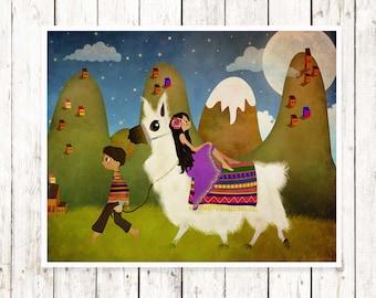 Llama Print Art Childrens Wall Art  Nursery Decor Whimsical Print Llama Nursery Art Print  Baby Gift Toddler Gift Llama Wall Art Llama Art