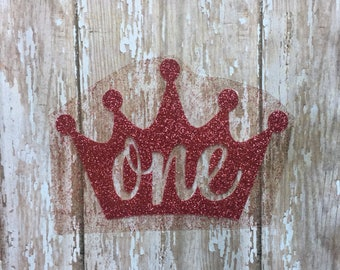 Crown Birthday Iron on decal/Crown name iron on decal/ Personalized Iron on Glitter Decal/ Prince Birthday Iron on/ DIY Princess Birthday