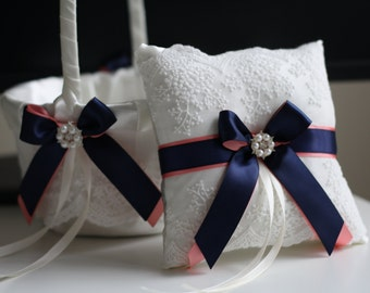 Navy Wedding Basket, Coral Ring Bearer Pillow, Coral Wedding Pillow, wedding accessories, Coral Flower Girl Basket, Coral Navy Bearer Pillow