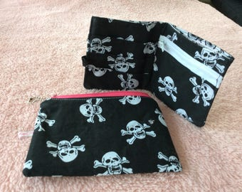 Black and White skull and crossbones pattern fabric cosmetic pouch