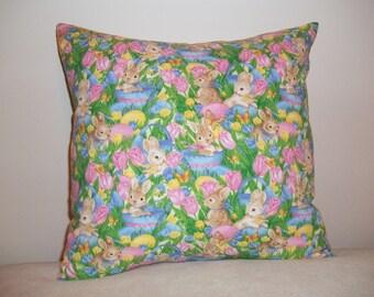 Easter Bunnies wih Eggs, Baskets & Flowers - Set of 2