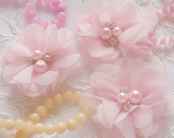 3 Handmade Chiffon Flower Fabric Flower Fabric Rose With Rhinestone and Pearl  (2 inches) Lt pink  MY-323-02 Ready To Ship