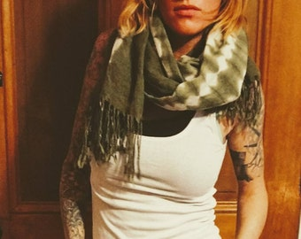 Vintage fringe shawl, vintage pashmina
