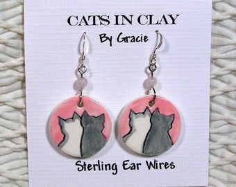 Love Cat Earrings Clay Handmade Round French Wire With Black Stone Bead by GMS