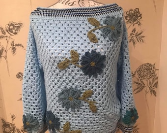 Crochet granny square jumper
