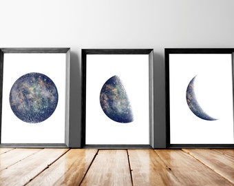 """Printable set of 3 Moon phase posters, Set of 3 8x10"""" and A4(8,3x11,7""""), Instant download moon prints, Space art poster, Printable poster"""
