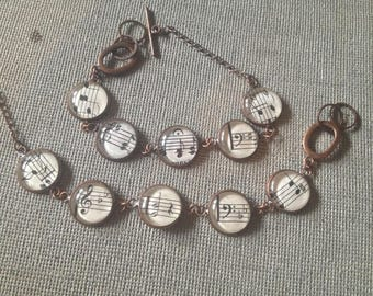 Vintage Shaped Note Music Bracelet from old Hymnals & Sheet music FREE USA Shipping Copper/Bronze/Silverplate
