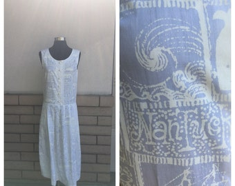 White Ocean Print Sundress Nantucket Ship Surf Whale Print Drop Waist Pleated Skirt Medium