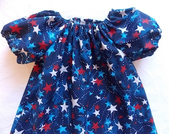 Ready to ship Toddler dress Red White Blue dress July 4 dress girl 2T  3T
