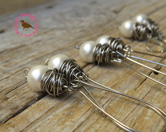 White Pearl Earrings, Wire Wrap, Dangle White Pearl Earrings, Statement, Messy Wire Wrap Boho Pearl, Long Dangle, MagpieMadness for Etsy
